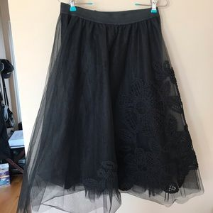 Maeve Tule Black Skirt with embroidered detail